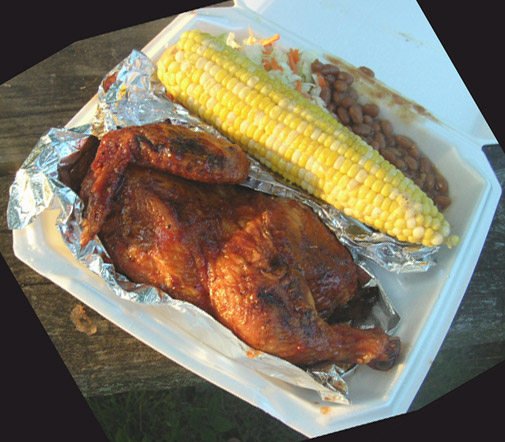 chicken and corn in takeout container