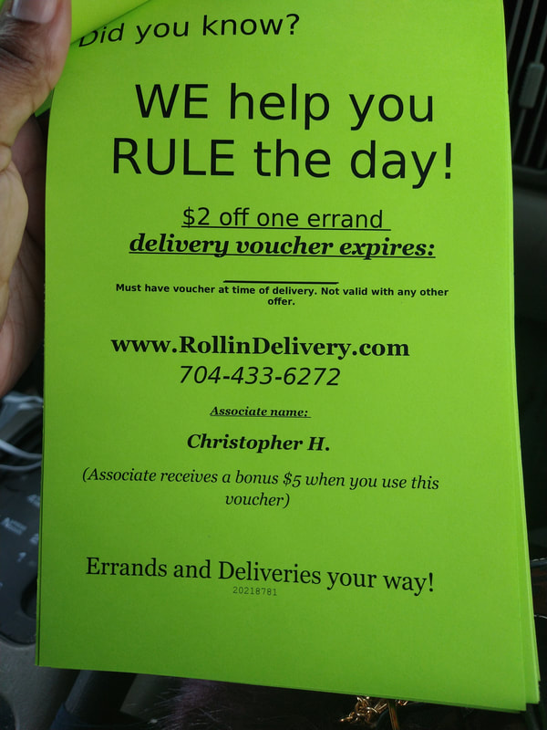 Discount voucher for Rollin Delivery and Errands driving associates.